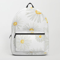 white daisy pattern watercolor Backpacks by Color and Color