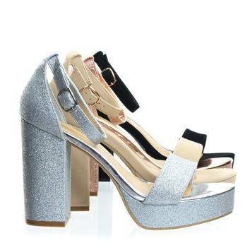 Current02 by Bamboo Block Heel Platofrm Open Toe Dress Sandal w Ankle Strap