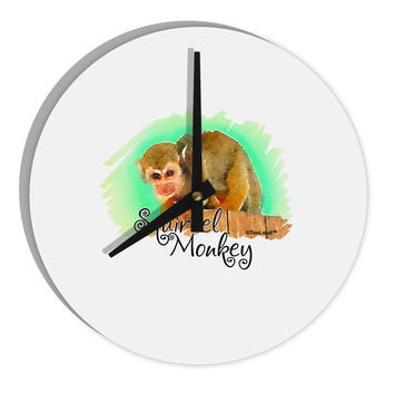 """Squirrel Monkey Watercolor Text 8"""" Round Wall Clock"""
