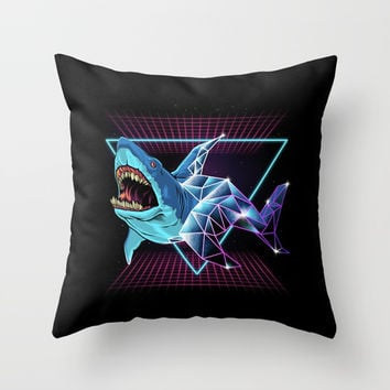 Shark 80s Throw Pillow by Angoes25