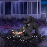 6' Long Airblown Halloween Inflatable Animated Black Cat with Turning Head
