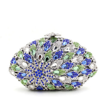 Green Blue Seashell Rhienstone Hollow Metal Box Clutches For Women Prom