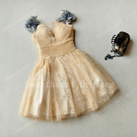 Charming Sweetheart apricot golden princess prom dress/homecoming dress