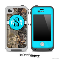 Real Camouflage with Turquoise Monogram Skin for the iPhone 5 or 4/4s LifeProof Case