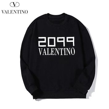 Valentino New fashion letter print couple long sleeve sweater Black