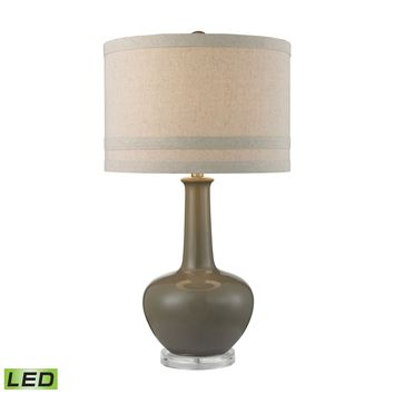 D2623-LED Ceramic LED Table Lamp in Grey Glaze And Acrylic - Free Shipping!