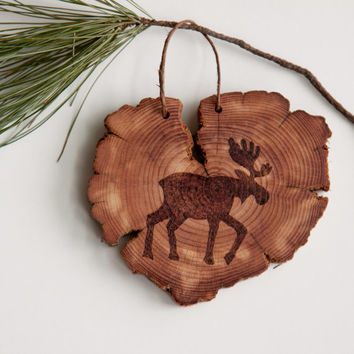 Wood Burned Moose on Cedar Heart.  Woodland Animal Ornament or wall hanging.