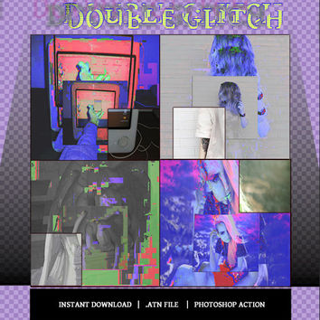 "Photoshop ACTION Coloring File Instant Download Photo Effects Actions ""DOUBLE GLITCH"" 90s Grunge Glitch 80s Vaporwave Neon Colorful"