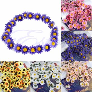 100Pcs Artificial Gerbera Daisy Silk Flowers Heads Diy Wedding Party Home Decor