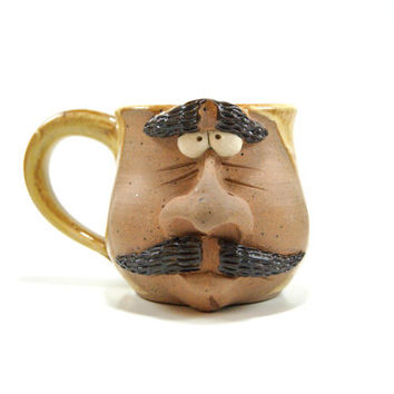Pottery face mug, ceramic face mug, caricature mug, stoneware coffee cup