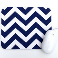 MOVING SALE Chevron Mouse Pad / Navy Blue and White / Home Office Decor / Zig Zag / Premier Prints