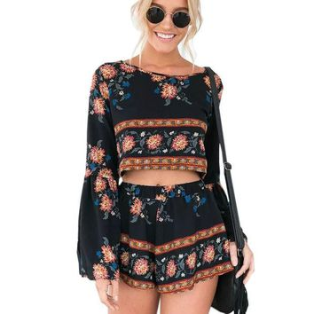 LMFUNT Boho Print Beach Elegant Jumpsuit Romper 2016 Summer Style Backless Long Sleeve Sexy Playsuit Women Two Piece Short Overalls