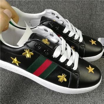 Trendsetter GUCCI Woman Fashion Embroidery Flats Shoes Sneakers Sport Shoes