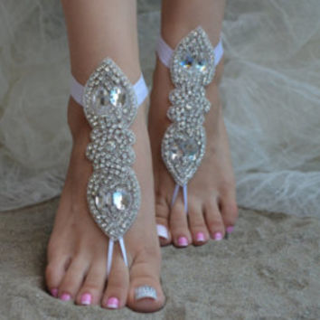 Free Shıp Elegant bride lace barefoot sandals, Outdoor Wedding, lace shoes, white Barefoot Sandals, Sexy,Anklet, Flexible wrist lace sandals