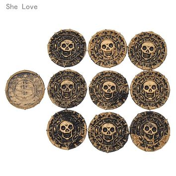 She Love 10pcs Plastic Pirate Treasure Coins Party Props Christmas Gift Children's Toys Game Currency Halloween Party Supplies