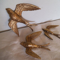 3 Vintage Gold Sparrows ~ Burwood Co. Wall hangings ~ Gallery wall birds