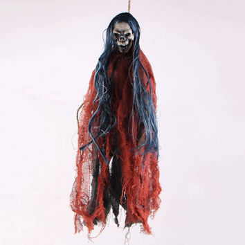Free Shipping Voice Activated Hanging Skull Skeleton Ghost Halloween Props for Party Bar KTV Haunted House Decoration