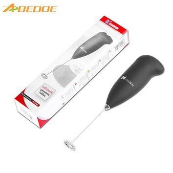 ABEDOE Handheld Milk Frother Foamer Blender Cappucino Latte Stainless Steel Maker Whisk Eggs Battery Operated Kitchen Gadgets