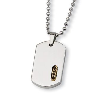 Stainless Steel and Gold Tone Dog Tag Necklace, 22 Inch
