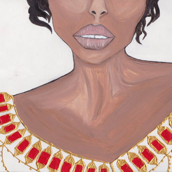 Ethnic women art, African woman, Black Girl Magic,Oil and acrylic painting, gift , woman art prints