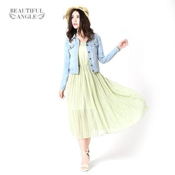 New Spring Summer 2017 Plus Size Vintage Cropped Denim Jacket Short Long-Sleeve Cardigan Coat Jeans Jacket Women
