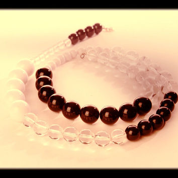 Lucite Beaded Necklace Black White Translucent Bubble Plastic Beads Long True Vintage Jewelry