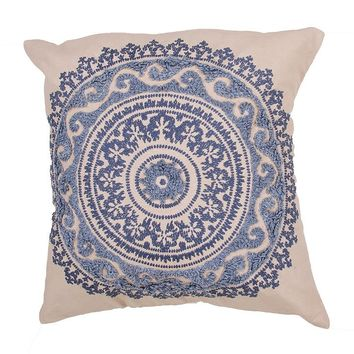 Medallion Indigo Blue Throw Pillow
