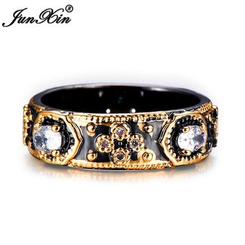 JUNXIN Punk Male Female Unique Finger Ring Fashion Black Gold Filled Jewelry Vintage Wedding Rings For Men And Women