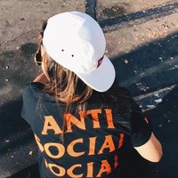 """Anti Social Socail Club"" Trending Women Men Stylish Letter Print Short Sleeve T-Shirt Top Black"
