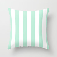 Stripe Vertical Mint Green Throw Pillow by BeautifulHomes | Society6