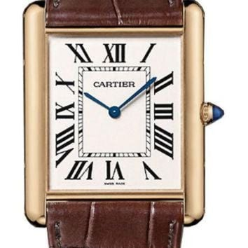 VLX9RV Cartier Tank Louis Manual Wind 18k Rose Gold Mens Watch W1560017