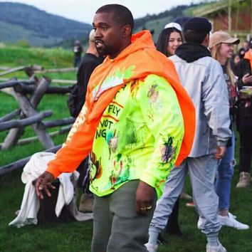 2018ss new Hip-hop kanye west Fear Of God Best version Wyoming mountains Pattern letter printing Men Hoodie Pullover Sweatshirt