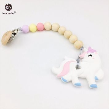 Let's make Silicone Teether Unicorn Dummy Clip Can Chew Wooden Beads Food Grade Silicone Teether Baby Pacifier Clips Baby Charms