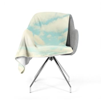 "Sylvia Cook ""Clouds"" Blue White Fleece Throw Blanket"