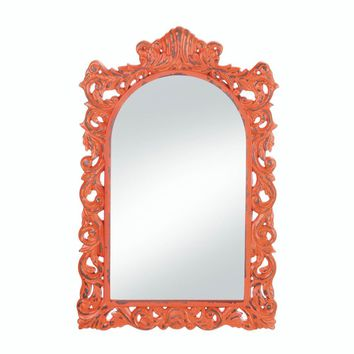 Wooden Stylish Distressed Orange Wall Mirror