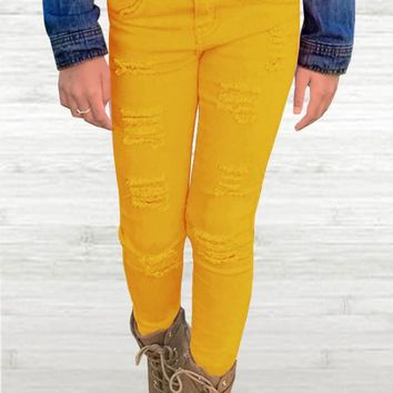 Fall Back To School Girl's Bulk Stretch Denim Jeans w/ Pocket Taping, Roll-up, & 2 Button Waistband