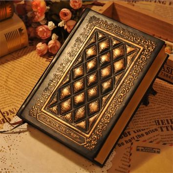 2017 retro blank inside page notepad hardcover leather face book A5 relief planner notebook brush gold side of the book
