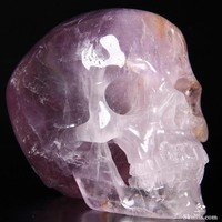 "Rainbows! Huge 4.3"" Amethyst Carved Crystal Skull, Super Realistic"