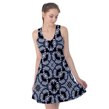Futuristic Geometric Print Reversible Sleeveless Dress