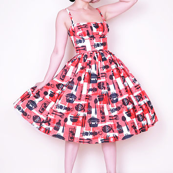 Paris dress in BBQ print