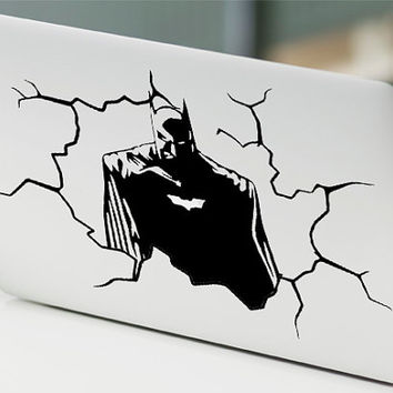 "Batman Cracked Wall Unique Decal Sticker Vinyl For Macbook Pro Air Retina 13"" 15"" Inches Laptop Cover"