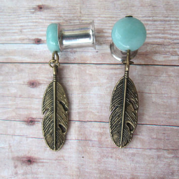 Pair of Natural Amazonite Plugs w/ Feather Charms - 8g, 6g, 4g, 2g,0g,00g (3mm, 4mm, 5mm, 6mm, 8mm,10mm)