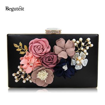 Begutest Luxury Brand Evening Bags Women Clutch Bags Evening Flower Applique Handbag Embroidery Chain Bag Crystal Diamond ag