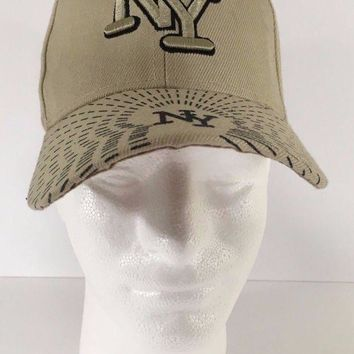 DCK4S2 New York Tan Colored Adult Adjustable Hat NY City