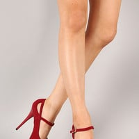 Qupid Neutral-02 Nubuck Mary Jane Stiletto Platform Pump