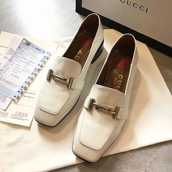 GUCCI Women Fashion Leather Loafers Low Heeled Shoes