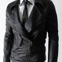 handmade Men Black Leather Jacket, stylish slim black leather jacket men