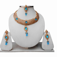 Turquoise Polki Bridal Jewellery Set with Indian Tikka and Earrings for Women