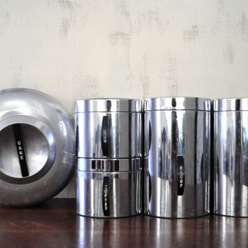 Mid Century Kromex Canister Set, Aluminum with Black Handles, Sugar, Coffee, Tea, Four, Cake Dome, Kitchen Canisters