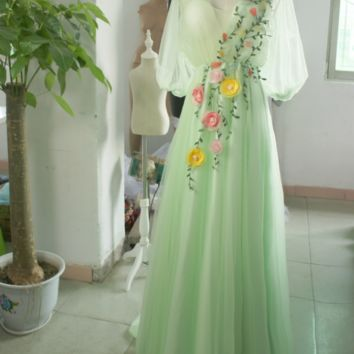 New fashion flower wedding bride bridesmaid dress long evening dress